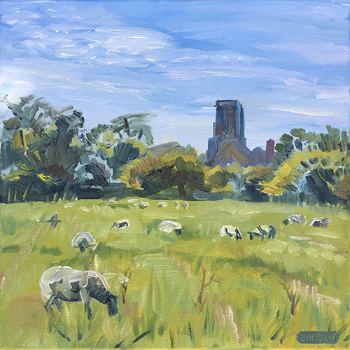 Sheep may safely graze, Woodspring Priory 2017 by Stuart Nurse